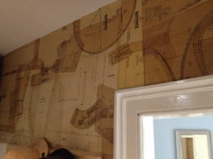 Create a interesting wall space by using old pattern cutting paper! image taken from my dressing room work in progress!